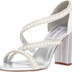 Dyeables Pearl Satin Open Toe Cross Strap Sandals